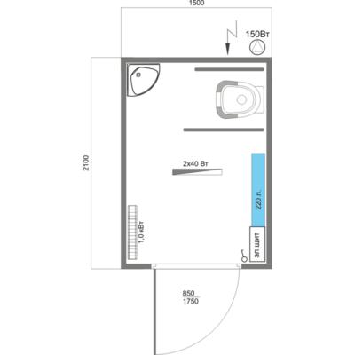 Схема планировки автономного туалетного модуля для инвалидов А-3