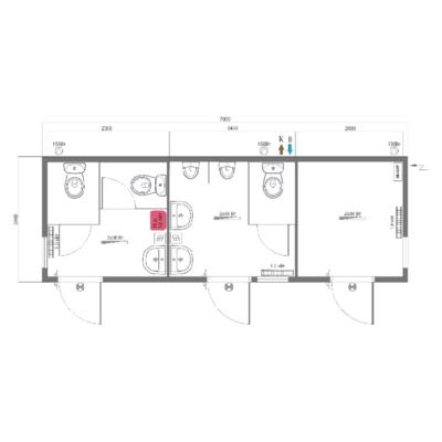 Модульный туалет серии КМТ, схема модуля