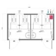 Схема модульного туалета с напольными унитазами, серия КМТ