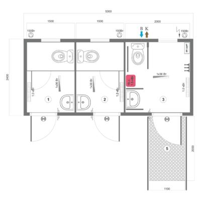 Модульный туалет серии СБМ-1ОС