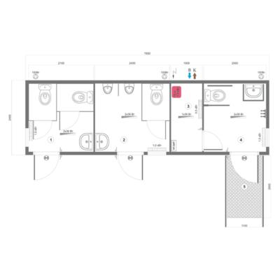 Схема модульного туалета серии СБМ-2ОС