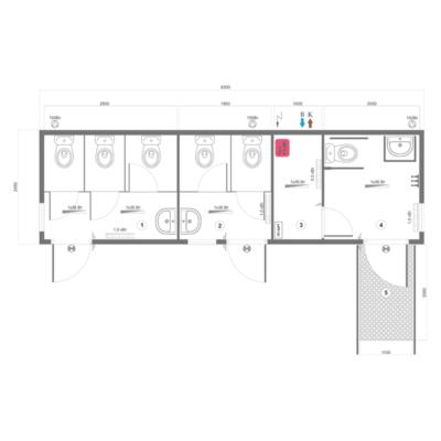 Схема модульного туалета серии СБМ-3ОС
