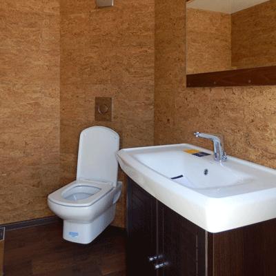 Интерьер автономного туалета на колесах, комплектация люкс