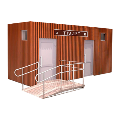 модульный туалет АМ-4, фасад