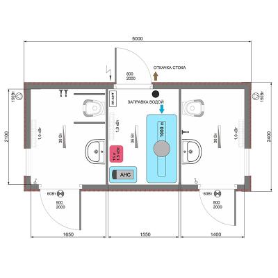 Автономный туалет АМ-4 схема планировки
