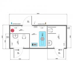 Модульный туалет А-6, схема планировки