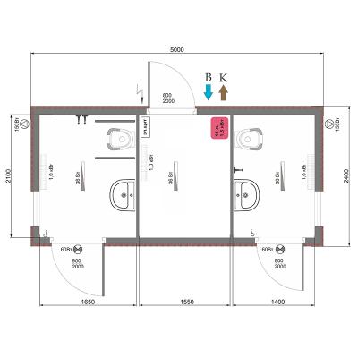 Сетевой модульный туалет СМ-4, схема планировки